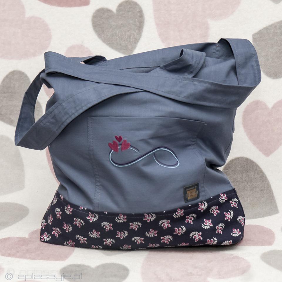 torba bawełniana na zakupy, niebiesko-szara z ozdobnym haftem symbolu nieskończoności
