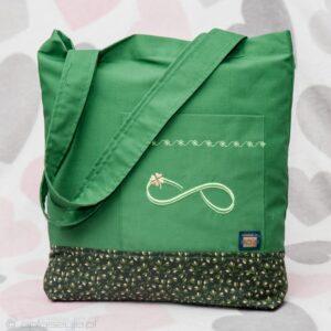 Anużka - torba bawełniana z dwóch tkanin w kolorze zielonym z haftowanym symbolem nieskończoności.