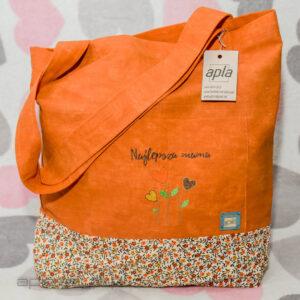 Pomarańczowa torba na zakupy z napisem najlepsza mama