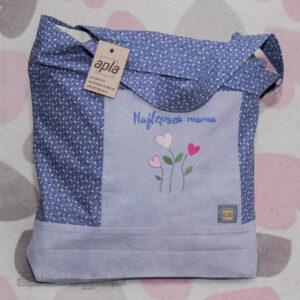 Niebieska torba na zakupy w drobne kwiatki z napisem najlepsza mama
