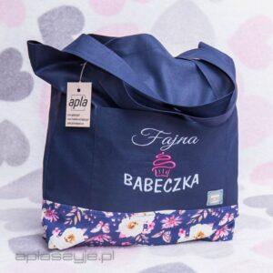 Eko torba na zakupy z napisem fajna babeczkq