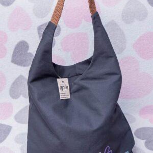 duża torba worek, torba na ramię grafitowa z ważką