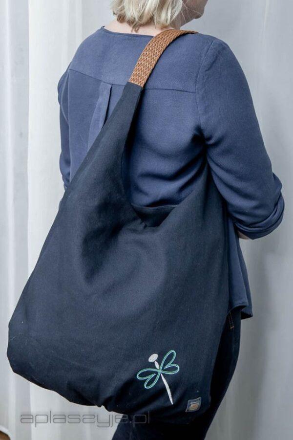 Granatowa torba worek. Z materiału, bawełniana, handmade
