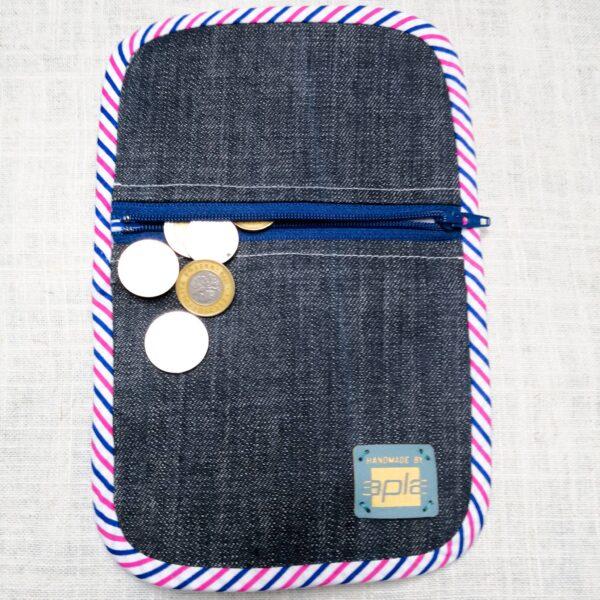 Portfel z tkaniny dżinsowej z kieszonką na monety