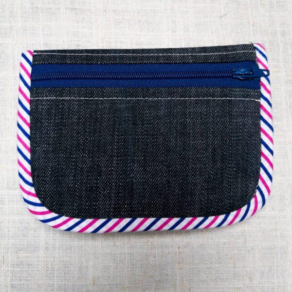 Tył portfela z jeansu, kieszonka na zamek